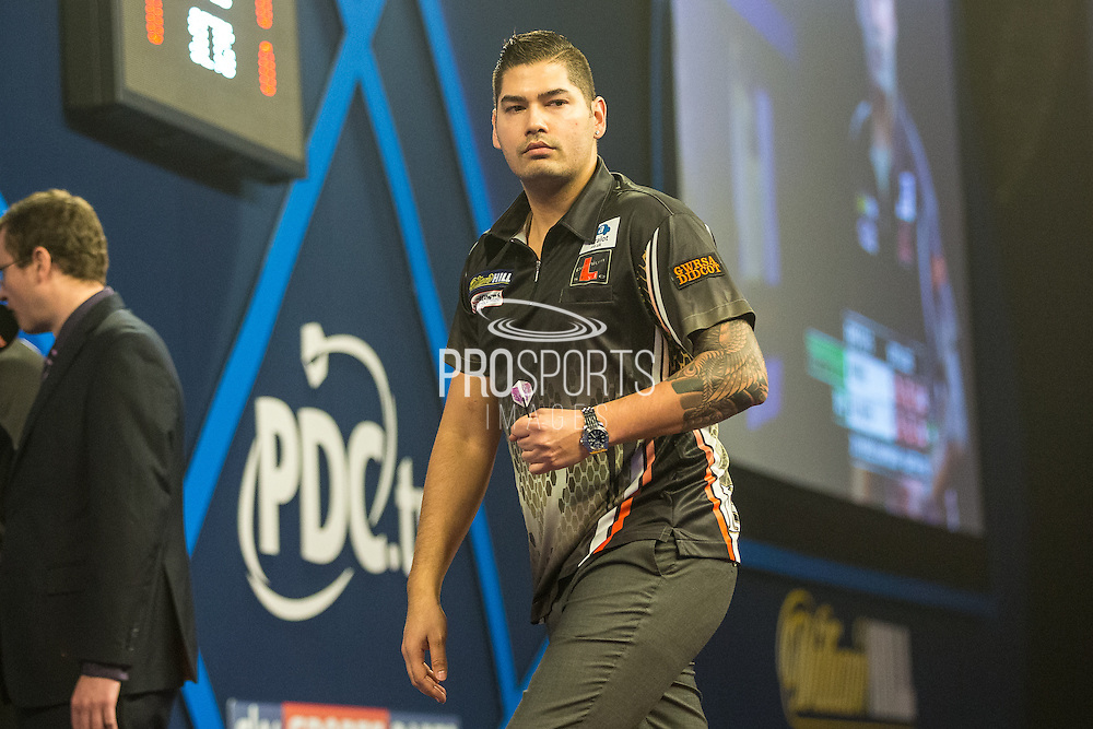 Jelle Klaasen takes a leg in the 1st set during the World Darts Championship at Alexandra Palace, London, United Kingdom on 1st January 2016. Photo by Shane Healey.