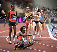 Genzebe Dibaba of Ethiopia (down) competes and breaks the World record in 1500m Women during the International Athletics Meeting Herculis, IAAF Diamond League, Monaco on July 17, 2015 at Louis II  stadium in Monaco, France - Photo Jean-Marie Hervio / KMSP / DPPI