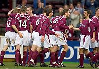 Fotball<br /> Skottland 2004/2005<br /> Foto: SBI/Digitalsport<br /> NORWAY ONLY<br /> <br /> Hearts v Kilmarnock, Scottish Cup fourth round, Tynecastle Park, Edinburgh. 05/02/2005<br /> <br /> Hearts celebrate the opening goal by Wyness