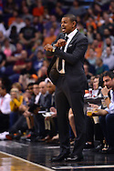 Apr 1, 2016; Phoenix, AZ, USA; Phoenix Suns head coach Earl Watson reacts from the sidelines of the game against the Washington Wizards at Talking Stick Resort Arena. Mandatory Credit: Jennifer Stewart-USA TODAY Sports