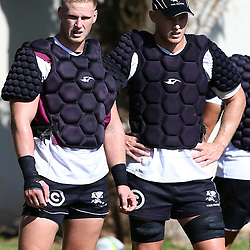 DURBAN, SOUTH AFRICA, 1,MARCH, 2016 -  Jean-Luc du Preez with Daniel Du Preez during The Cell C Sharks training session  at Growthpoint Kings Park in Durban, South Africa. (Photo by Steve Haag)<br /> images for social media must have consent from Steve Haag