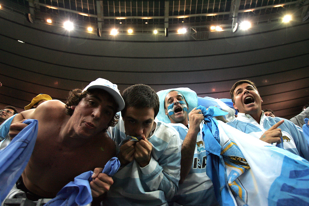 Argentina fans go wild after beating hosts France in the opening game of the World Cup 2007. Stade de France, St Denis. 7/09/07