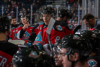 KELOWNA, BC - DECEMBER 18:  Trevor Wong #8 of the Kelowna Rockets sits on the boards during a time out against the Vancouver Giants at Prospera Place on December 18, 2019 in Kelowna, Canada. (Photo by Marissa Baecker/Shoot the Breeze)