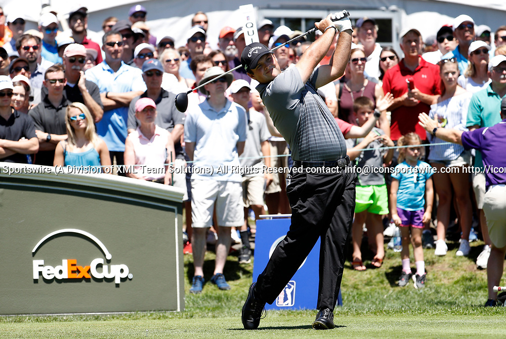 CROMWELL, CT - JUNE 24: Patrick Reed of the United States drives from the 1st tee during the third round of the Travelers Championship on June 24, 2017, at TPC River Highlands in Cromwell, Connecticut. (Photo by Fred Kfoury III/Icon Sportswire)