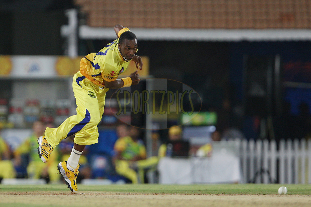 Dwayne Bravo during match 24 of the the Indian Premier League ( IPL) 2012  between The Chennai Superkings and the Pune Warriors India held at the M. A. Chidambaram Stadium, Chennai on the 19th April 2012..Photo by Jacques Rossouw/IPL/SPORTZPICS