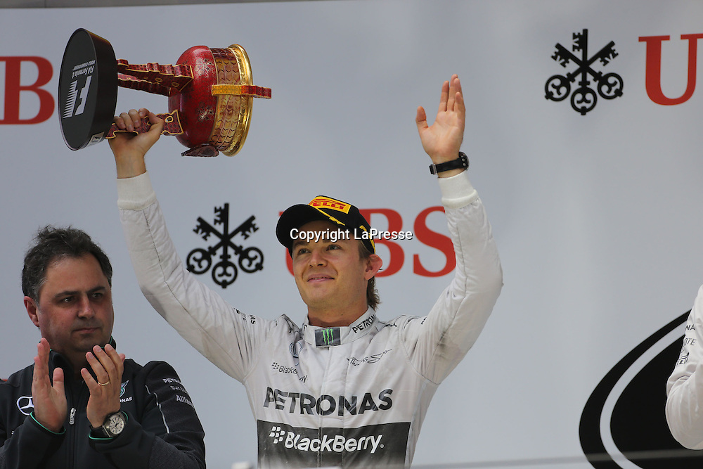 &copy; Photo4 / LaPresse<br /> 20/4/2014 Shanghai, China<br /> Sport <br /> Grand Prix Formula One China 2014<br /> In the pic: Podium, 2nd  Nico Rosberg (GER) Mercedes AMG F1 W05