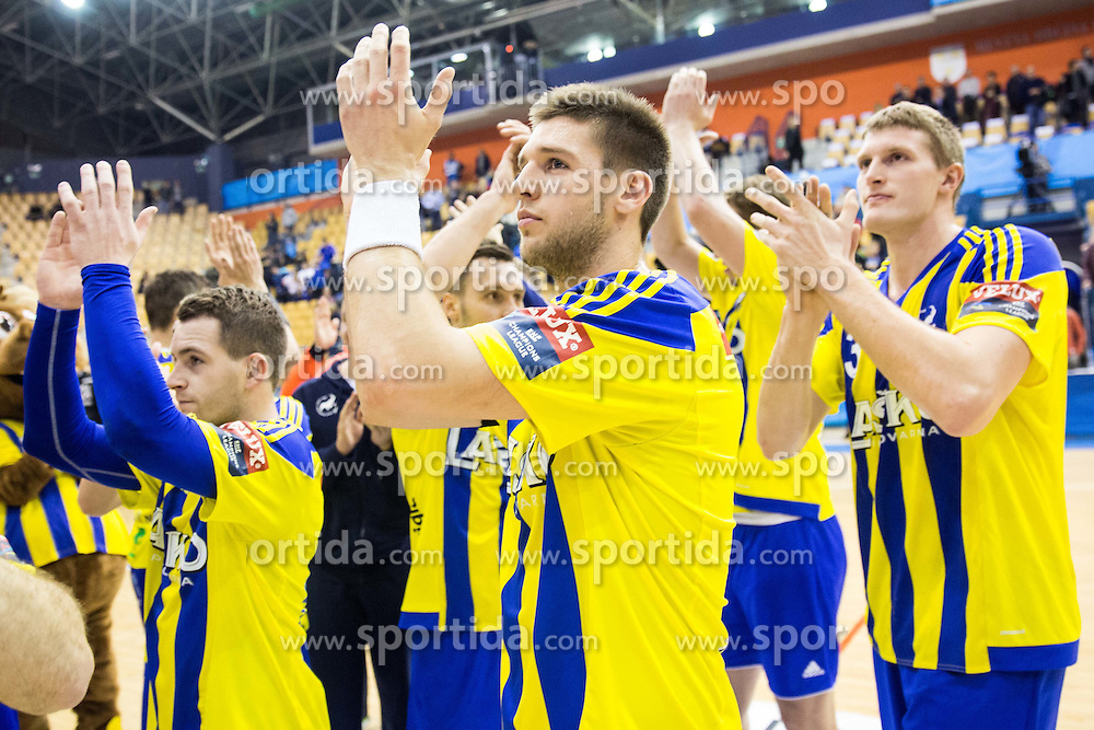 Sime Ivic of RK Celje PL and Blaz Blagotinsek of RK Celje PL  after the handball match between RK Celje Pivovarna Lasko and RK Gorenje Velenje in Eighth Final Round of Slovenian Cup 2015/16, on December 10, 2015 in Arena Zlatorog, Celje, Slovenia. Photo by Vid Ponikvar / Sportida