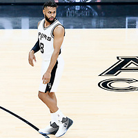 01 May 2017: San Antonio Spurs guard Patty Mills (8) is seen during the Houston Rockets 126-99 victory over the San Antonio Spurs, in game 1 of the Western Conference Semi Finals, at the AT&T Center, San Antonio, Texas, USA.