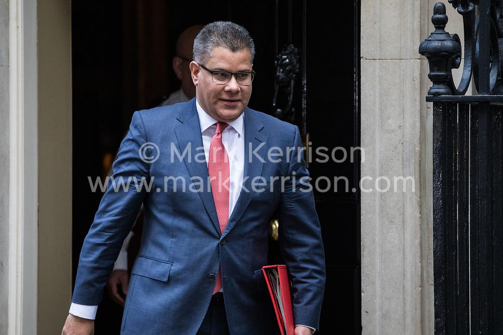 London, UK. 7 January, 2020.  Alok Sharma, Secretary of State for International Development, leaves 10 Downing Street following a Cabinet meeting.