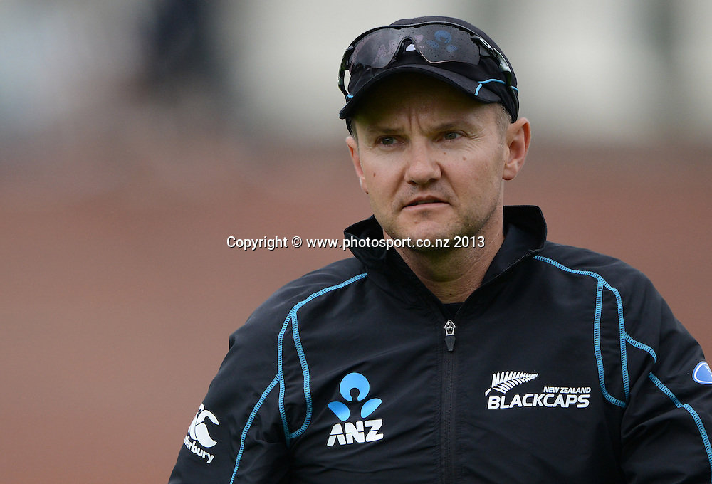 NZ Coach Mike Hesson on Day 2 of the 2nd cricket test match of the ANZ Test Series. New Zealand Black Caps v West Indies at The Basin Reserve in Wellington. Thursday 12 December 2013. Mandatory Photo Credit: Andrew Cornaga www.Photosport.co.nz