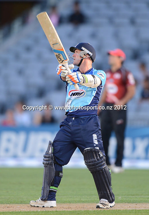 Gareth Hopkins during the HRV Cup Twenty20 Cricket match between Auckland Aces and Canterbury Wizards at Eden Park on Friday 21 December 2012. Photo: Andrew Cornaga/Photosport.co.nz