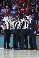05 January 2013:  Randy Heimerman, John Higgins, Ben jacobson, Bo Boroski and Dan Muller discuss a hard elbow to the head foul against Kaza Keane during an NCAA Missouri Valley Conference (MVC) mens basketball game between the Northern Iowa Panthers and the Illinois State Redbirds in Redbird Arena, Normal IL