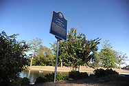 A historical marker stands at Silver Pond, dedicated to James Silver, in Oxford, Miss. on Friday, September 30, 2011. James W. Silver joined the Ole Miss faculty in 1936 and served as chair of the history department from 1946 to 1957. During the segregationist era, Silver was frequently at odds with state political leaders, but never daunted by them. He was a constant critic of racial taboos and spoke out against them, often in letters to the editors of various newspapers in the region. His 1964 treatise, ÒMississippi: The Closed Society,Ó became one of the most talked-about books to come out of the state during the period.