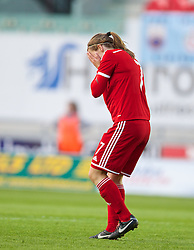 LLANELLI, WALES - Wednesday, April 9, 2014: Wales' Loren Dykes looks dejected against Ukraine during the FIFA Women's World Cup Canada 2015 Qualifying Group 6 match at Parc-y-Scarlets. (Pic by David Rawcliffe/Propaganda)
