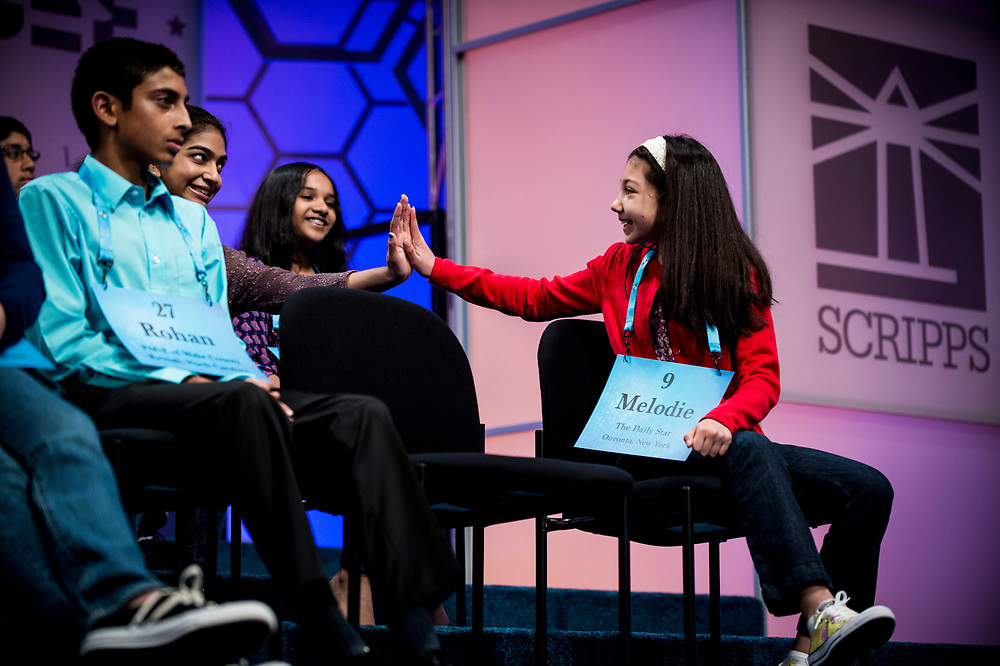Melodie Loya, 12, from Bainbridge, N.Y., is congratulated by fellow spellers as she participates in the finals of the 2017 Scripps National Spelling Bee on Thursday, June 1, 2017 at the Gaylord National Resort and Convention Center at National Harbor in Oxon Hill, Md.      Photo by Pete Marovich/UPI
