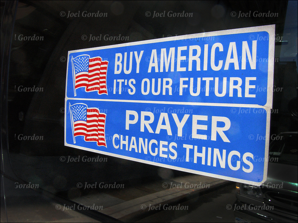 """Owner of car is  making statement with sticker on back window, """"Buy American it's our future"""" """"Prayer chances things"""""""