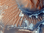 Scientists have found evidence of iron-bearing sulphates and clay minerals in the exposed areas of this region of the Noctis Labyrinthus formation. A dune field covers some of the ground. Below is an image of the floor of a 600-mile long canyon called Ius Chasma, which is part of the Valles Marineris, the largest known canyon system in the solar system. The dark rock is an old lava flow, and the lighter areas are mega ripples. Both images were taken by the High Resolution Imaging Science Experiment (HI RISE) camera on the Mars Reconnaissance Orbiter.