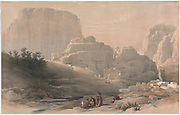Petra, Lower End of the Valley, Viewing the Acropolis Color lithograph by David Roberts (1796-1864). An engraving reprint by Louis Haghe was published in a the book 'The Holy Land, Syria, Idumea, Arabia, Egypt and Nubia. in 1855 by D. Appleton & Co., 346 & 348 Broadway in New York.