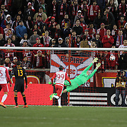 Goalkeeper Joe Willis, Houston Dynamo, is beaten by a shot from Felipe Martins, (out of frame), New York Red Bulls, for the first of his two spectacular goals in New York Red Bulls 4-3 win during the New York Red Bulls Vs Houston Dynamo, Major League Soccer regular season match at Red Bull Arena, Harrison, New Jersey. USA. 19th March 2016. Photo Tim Clayton