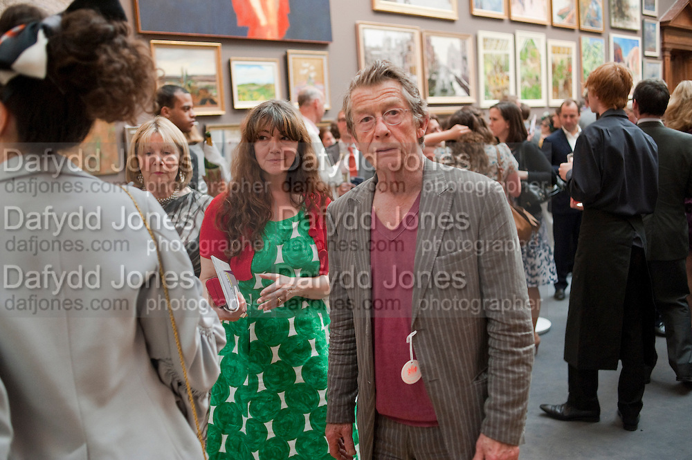 ANN REES-MYERS; JOHN HURT, Royal Academy of Arts Summer Exhibition Preview Party 2011. Royal Academy. Piccadilly. London. 2 June <br /> <br />  , -DO NOT ARCHIVE-© Copyright Photograph by Dafydd Jones. 248 Clapham Rd. London SW9 0PZ. Tel 0207 820 0771. www.dafjones.com.