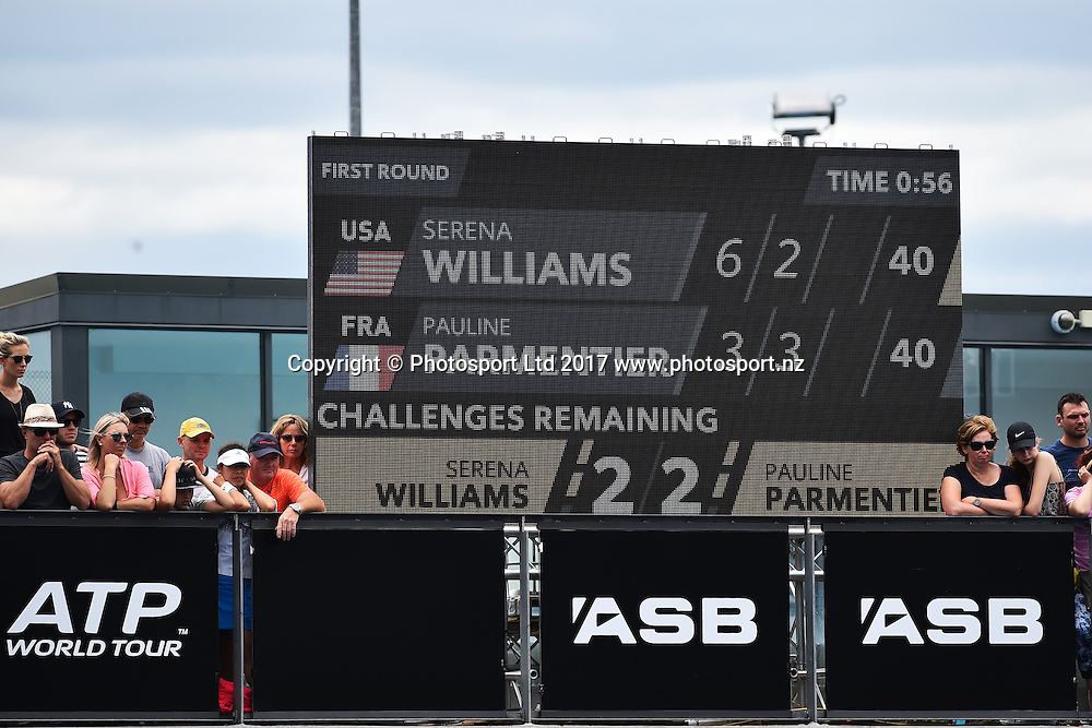 Monstavision during the ASB Classic WTA Womens Tournament Day 2. ASB Tennis Centre, Auckland, New Zealand. Tuesday 3 January 2017. ©Copyright Photo: Chris Symes / www.photosport.nz