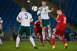BALLYMENA, NORTHERN IRELAND - Thursday, November 20, 2014: Wales' Liam Cullen scores the second goal against Northern Ireland during the Under-16's Victory Shield International match at the Ballymena Showgrounds. (Pic by David Rawcliffe/Propaganda)