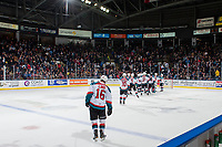 KELOWNA, CANADA - DECEMBER 27: The Kelowna Rockets celebrate the shoot out win against the Kamloops Blazers on December 27, 2017 at Prospera Place in Kelowna, British Columbia, Canada.  (Photo by Marissa Baecker/Shoot the Breeze)  *** Local Caption ***