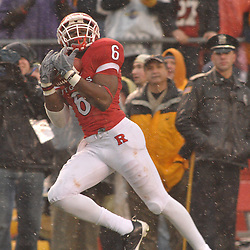 Dec 5, 2009; Piscataway, NJ, USA; Rutgers wide receiver Mohamed Sanu (6) catches a touchdown pass during second half NCAA Big East college football action in West Virginia's 24-21 victory over Rutgers at Rutgers Stadium.