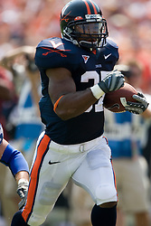 Virginia running back Cedric Peerman (37) scores UVA's first rushing touchdown on this 57 yard rush against Duke.  The Virginia Cavaliers defeated the Duke Blue Devils 23-14 at Scott Stadium in Charlottesville, VA on September 8, 2007  With the loss, Duke extended their longest-in-the-nation losing streak to 22 games.