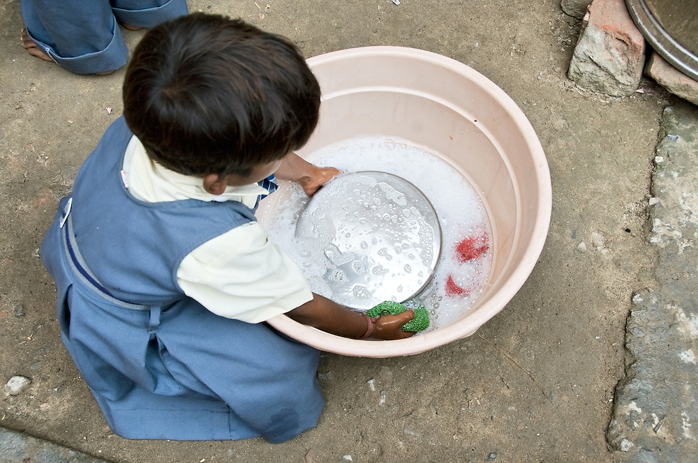In this school (Duniya Education), the children are tought about hygiene like washing hands before lunch, washing plates after lunch and brushing their teeth.
