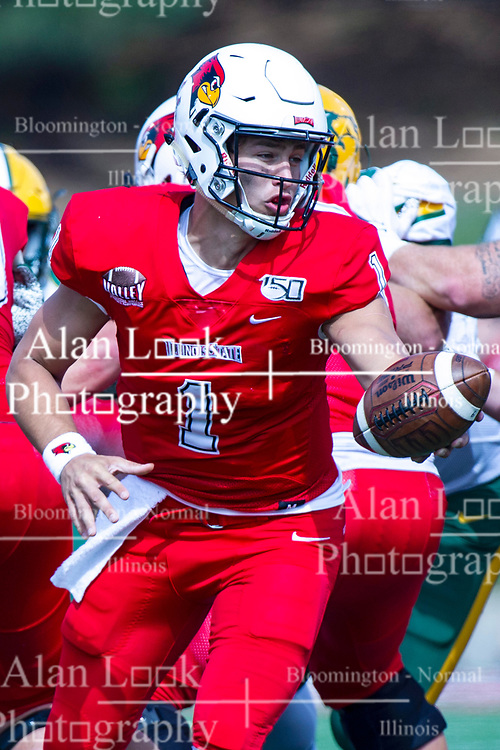 NORMAL, IL - October 05:   Brady Davis during a college football game between the ISU (Illinois State University) Redbirds and the North Dakota State Bison on October 05 2019 at Hancock Stadium in Normal, IL. (Photo by Alan Look)
