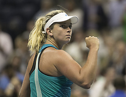 August 31, 2017 - Flushing Meadows, New York, U.S - Coco Vandeweghe reacts after winning her match on Day Four of the 2017 US Open with Ons Jabeur at the USTA Billie Jean King National Tennis Center on Thursday August 31, 2017 in the Flushing neighborhood of the Queens borough of New York City. Vandeweghe defeats Jabeur, 7-6(8-6), 6-2. (Credit Image: © Prensa Internacional via ZUMA Wire)