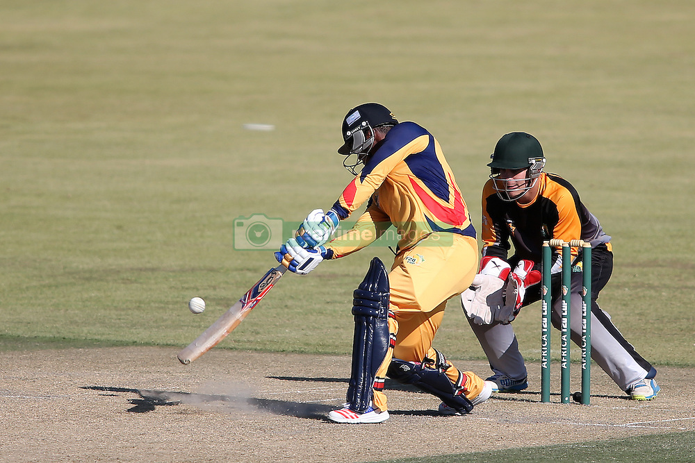 Mangaliso Mosehle of Gauteng squad drives a delivery during the Africa T20 cup pool D match between Boland and Gauteng held at the Boland Park cricket ground in Paarl on the 25th September 2016.<br /> <br /> Photo by: Shaun Roy/ RealTime Images