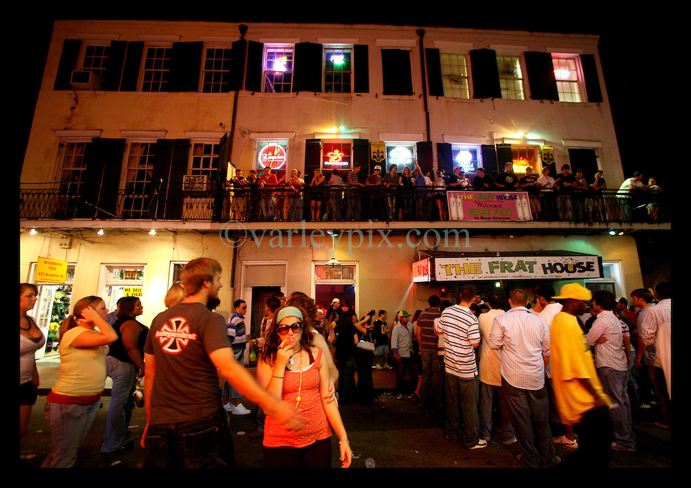 26 August  2006 - French Quarter - New Orleans - Louisiana. <br />Scenes from Bourbon Street late at night on the weekend before the anniversary of hurricane Katrina. Business has picked up once again in the Quarter, looking reminiscent of how it was the night before the storm hit almost a year ago. Credit; Charlie Varley/Sipa Press.