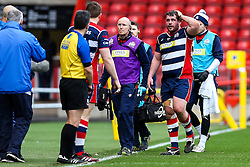 Ryan Bevington of Bristol Rugby goes off for a blood injury - Rogan Thomson/JMP - 26/02/2017 - RUGBY UNION - Ashton Gate Stadium - Bristol, England - Bristol Rugby v Bath - Aviva Premiership.