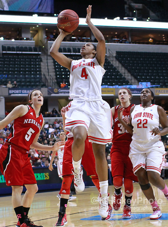 March 03, 2012; Indianapolis, IN, USA; Ohio State Buckeyes guard Tayler Hill (4) shoots the ball against the Nebraska Cornhuskers during the semifinals of the 2012 Big Ten Tournament at Bankers Life Fieldhouse. Nebraska defeated Ohio State 77-62. Mandatory credit: Michael Hickey-US PRESSWIRE