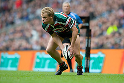Leicester Tigers wing Sott Hamilton passes during the Guinness Premiership final 2010 between Leicester Tigers and Saracens at Twickenham Stadium, London, England. May 29th, 2010. .