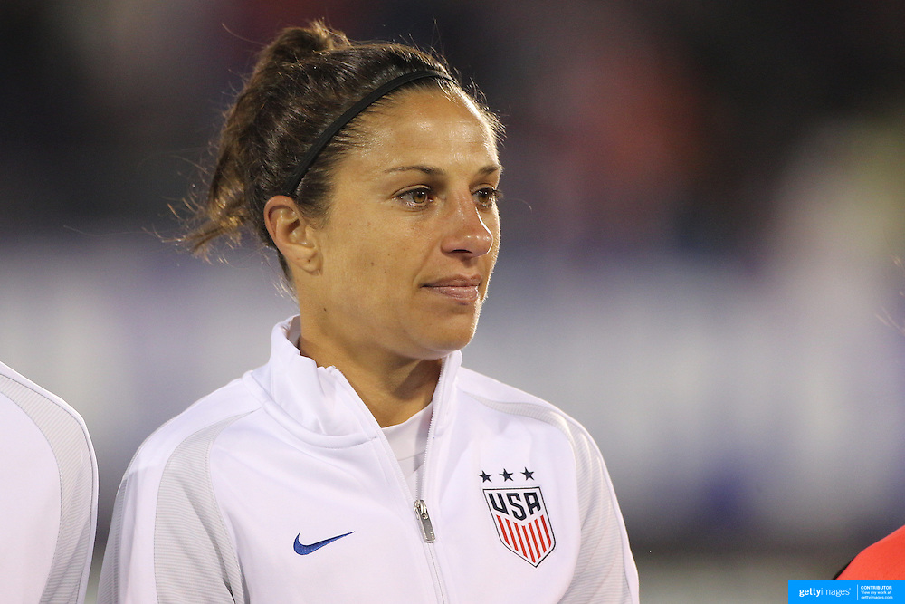 Carli Lloyd, USA, during team National Anthems before the USA Vs Colombia, Women's International friendly football match at the Pratt & Whitney Stadium, East Hartford, Connecticut, USA. 6th April 2016. Photo Tim Clayton