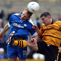 Alloa v St Johnstone.. 01.03.03<br />Tommy Lovenkrands and Craig Valentine<br /><br />Pic by Graeme Hart<br />Copyright Perthshire Picture Agency<br />Tel: 01738 623350 / 07990 594431