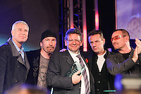 Lucian Grainge (MIT Awards recipient and Universal Music Group International Chairman/CEO) and U2