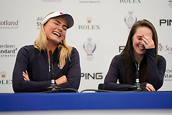 Auchterarder, Scotland, UK. 12 September 2019. Press conference with Team USA players for the 2019 Solheim Cup. Pictured; Lexi Thompson (l) and Brittany Altomare share a joke. Iain Masterton/Alamy Live News