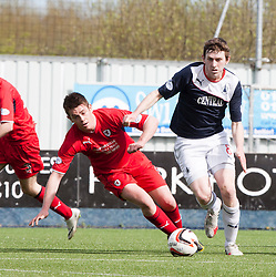 Raith Rovers Dougie Hill and Falkirk's Blair Alston.<br /> Falkirk 2 v 1 Raith Rovers, Scottish Championship game played today at The Falkirk Stadium.<br /> © Michael Schofield.