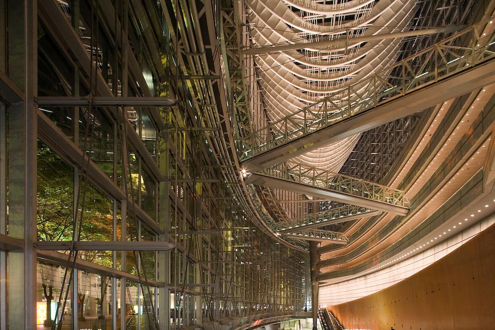 Asia, Tokyo, Japan, Tokyo International Forum Glass Hall at night