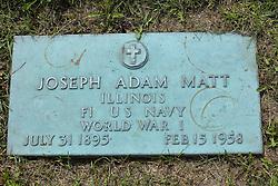 31 August 2017:   Veterans graves in Park Hill Cemetery in eastern McLean County.<br /> <br /> Joseph Adam Matt  Illinois  F1 US Navy  World War I  July 31 1895  Feb 15 1958