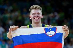 Luka Doncic of Slovenia celebrates after winning during basketball match between National Teams of Slovenia and Spain at Day 15 in Semifinal of the FIBA EuroBasket 2017 at Sinan Erdem Dome in Istanbul, Turkey on September 14, 2017. Photo by Vid Ponikvar / Sportida