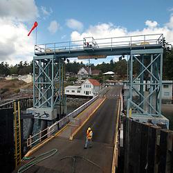 Departing on Ferry, Orcas Island, San Juan Islands, Washington, US
