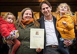 © Licensed to London News Pictures. 31/12/2019. London, UK. Rebecca Steinfeld and Charles Keidan Leave Kensington and Chelsea registry office with their children Eden 4 and Ariel 2 following a mixed sex union ceremony. The couple took their fight to the Supreme Court to allow civil partnerships between heterosexual couples. Photo credit: Ben Cawthra/LNP