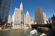 Chicago Tribune and Wrigley buildings along Michigan Ave with view of Chicago River Chicago, IL, USA.