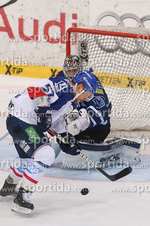 12.04.2015, Saturn Arena, Ingolstadt, GER, DEL, ERC Ingolstadt vs Adler Mannheim, Playoff, Finale, 2. Spiel, im Bild Ronny Arendt (Nr.57, Adler Mannheim) - der Golden Goal SChuetze des ersten Spiels vor Torhueter Timo Pielmeier (Nr.51, ERC Ingolstadt) // during Germans DEL Icehockey League 2nd final match between ERC Ingolstadt and Adler Mannheim at the Saturn Arena in Ingolstadt, Germany on 2015/04/12. EXPA Pictures &copy; 2015, PhotoCredit: EXPA/ Eibner-Pressefoto/ Strisch<br /> <br /> *****ATTENTION - OUT of GER*****