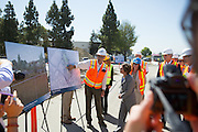 Sen. Barbara Boxer (D-CA) takes a tour of the Berryessa Extension Project's station construction site in San Jose, Calif., and is updated on the project's progress and funding by VTA and BART officials on Aug. 21, 2012.  Photo by Stan Olszewski/SOSKIphoto.